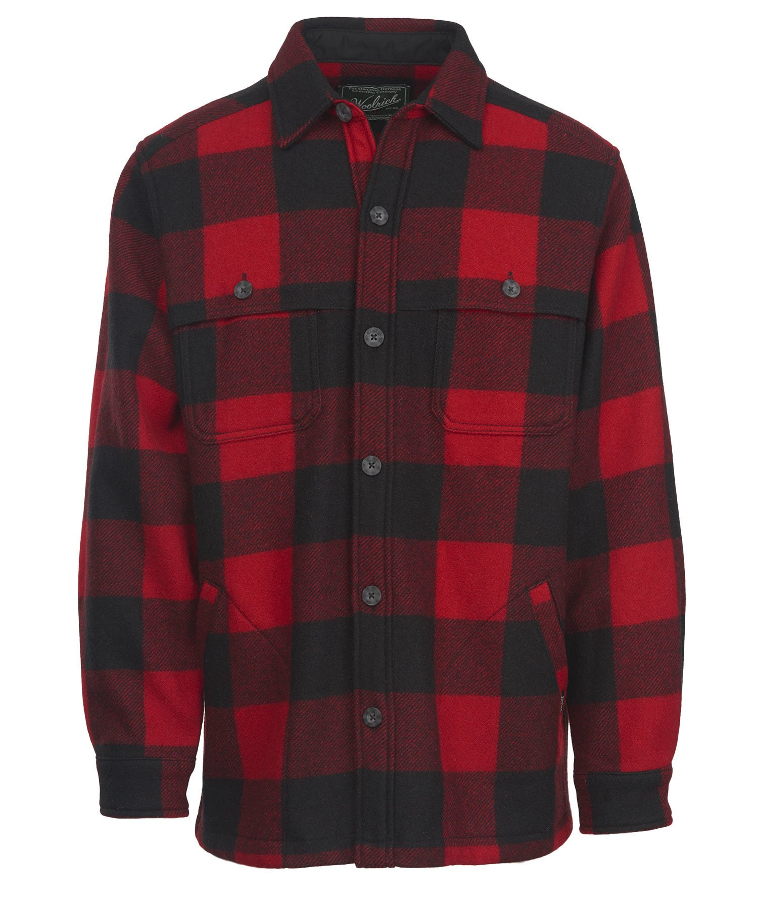 Woolrich Men's Wool Stag Shirt Jacket, Red/Black, Large