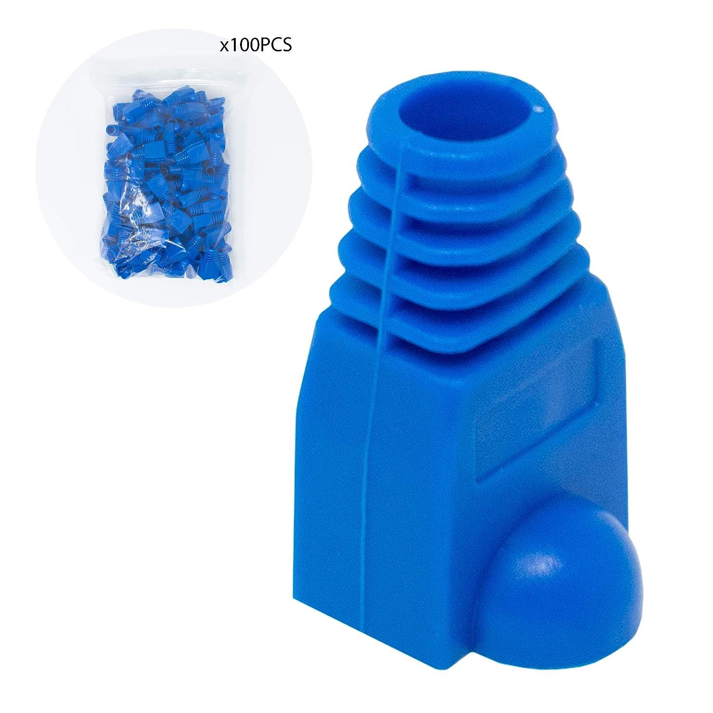 I-CHOOSE LIMITED Cat5//6 Bleu RJ45 R/éseau LAN Boot Les Bouchons Strain Relief Plug-End//Paquet de 100