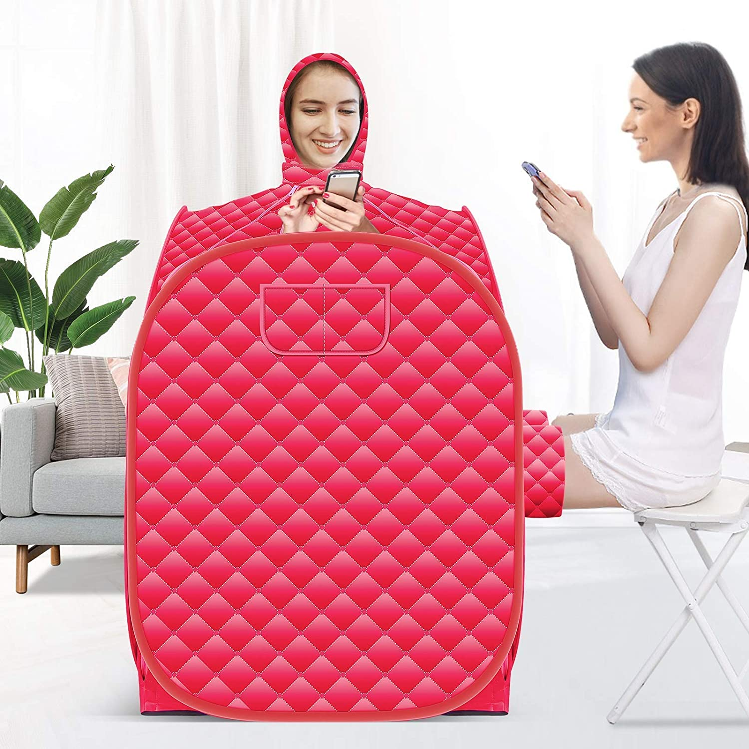 Kacsoo Steam Pot at Home Sauna with Remote Control, 2.6L Steamer with Folding Chair, 808098cm Increase Steamer, Lightweight Tent, One Person Full Body Spa for Weight Loss Detox Therapy (Red)