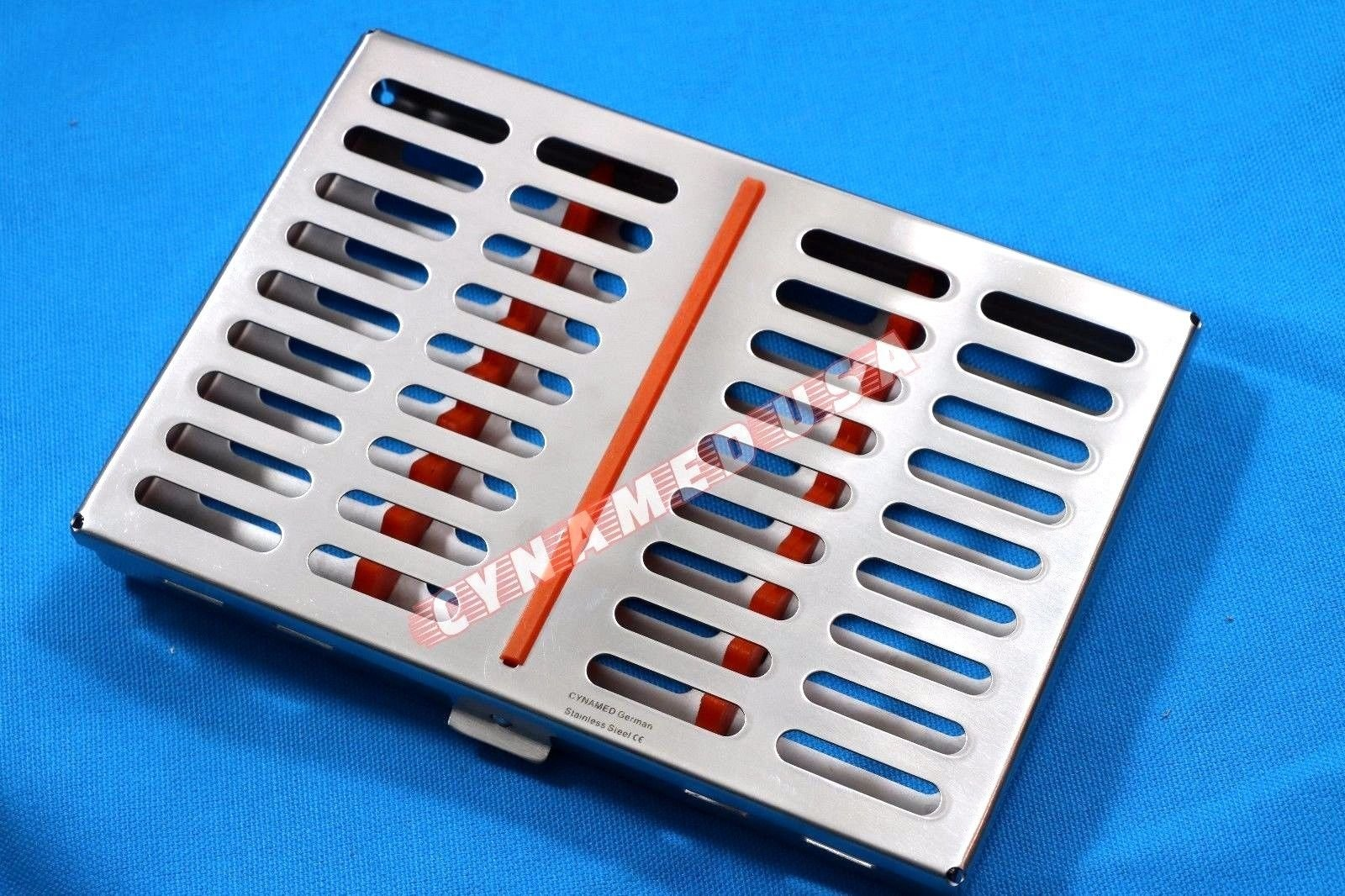 1 GERMAN STAINLESS DENTAL AUTOCLAVE STERILIZATION CASSETTE RACK BOX TRAY FOR 10 INSTRUMENTS