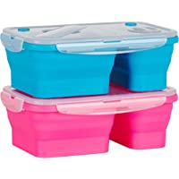 Flat Stacks Collapsible Silicone Lunchboxes   Space Saving   BPA Free   Air-tight   Leak proof   Microwave, Fridge…