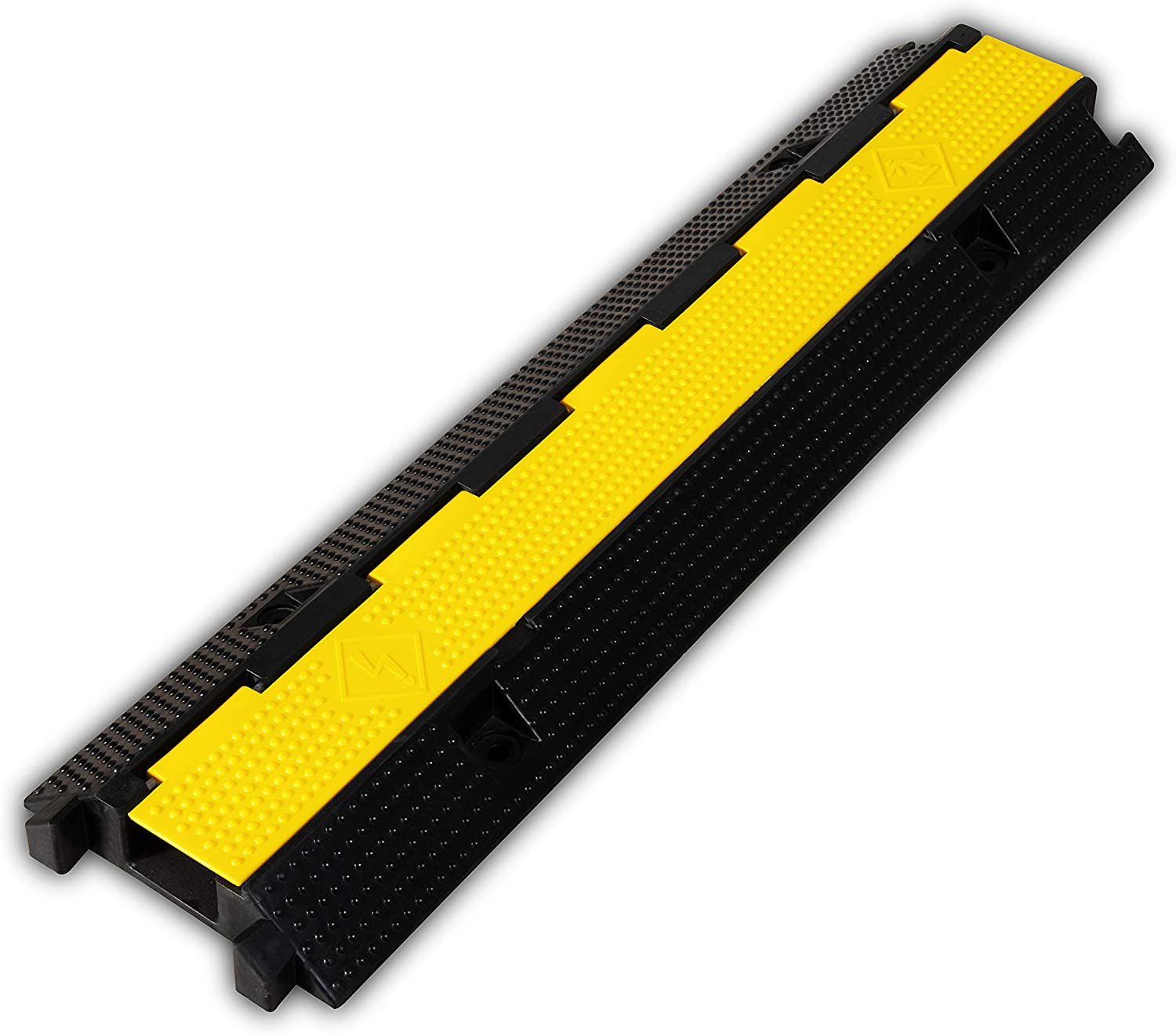 F COME 1 Pack Rubber Cable Ramp Hose Cable Protector Ramp 1 Channel 22000Lbs Load Capacity Traffic Speed Bump Wires Power Lines Extension Cord Cover for Indoor Outdoor