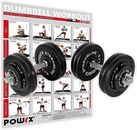 POWRX - Mancuernas Hierro Fundido 50 kg Set (2 x 25 kg) + PDF ...