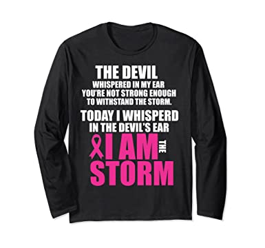 5936e8e9 Unisex I Am The Storm Long Sleeve Breast Cancer Survivor WARRIOR Small  Black. Roll over image to ...