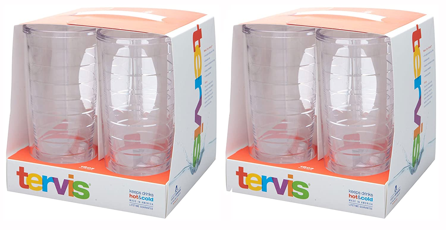 Tervis 4-Pack Tumbler, 16-Ounce, Clear Tervis Tumbler Company CLR-S-16