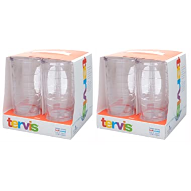 Tervis 16oz clear Tumbler Set of 8, Each Tumbler is 6 Inches Tall by 3.5 Inches in Diameter