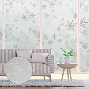 Frosted Window Film, Static Cling Decorative Glass Film, Self-Adhesive Window Privacy Film, Heat and UV Resistant Window Sticker, Home Security and Decorative, 17.7 x 78.7 Inches