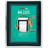 Headlineview A4 2 Ring Binder, 2cm Rings, with customiseable Front Cover Window and Spine Insert, Holds up to 120 Sheets…