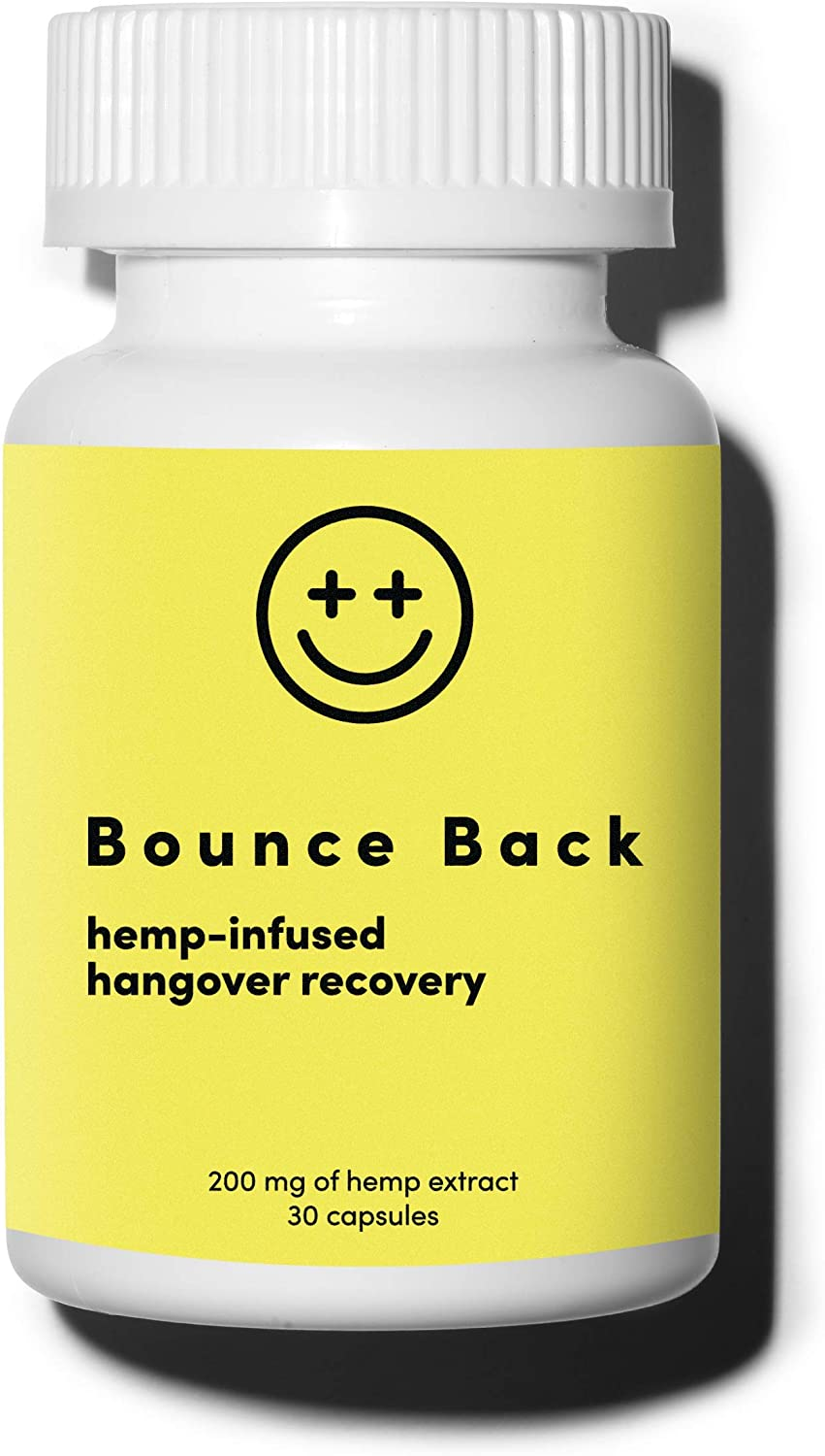 Bounce Back Hangover Cure and Prevention Pills (30 Capsules) - After Drink Recovery & After Alcohol Relief Aid with Dihydromyricetin (DHM), Hemp Extract, Milk Thistle, Prickly Pear Extract, B Vitamins