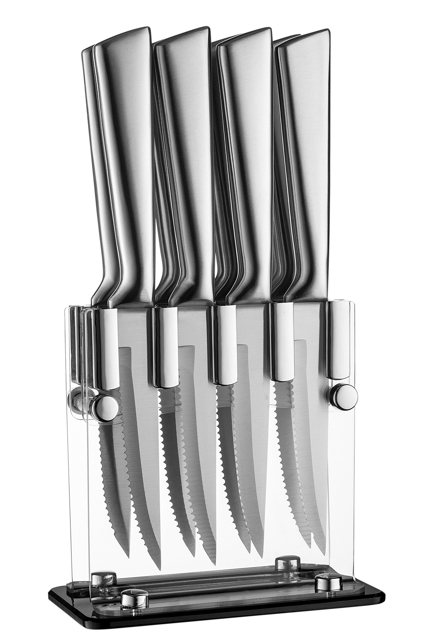 Stainless Steel Steak Knives With Block - High Quality Steak Knife Set Of 8 In Acrylic Stand
