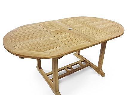 Amazoncom Premium Grade A Teak X Oval Double Extension - Teak extension table outdoor