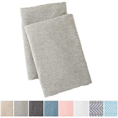 Great Bay Home Extra Soft Heather Jersey Knit (T-Shirt) Pillowcases. 2-Pack of Soft, Comfortable, Cozy Pillowcases. Carmen Collection Brand. (King, Light Grey)