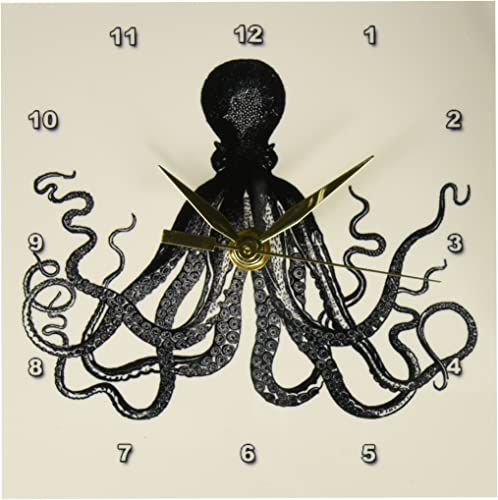3dRose dc_112921_1 Vintage Octopus-Black and White Lord Bodner Kraken-Cthulu-Nautical Underwater Sea Giant Squid-Desk Clock, 6 by 6-Inch