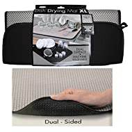 The Original Dish Drying Mat XL Microfiber, Absorbent, Machine Washable, Fast Drying 18X24 DUAL SURFACE (BLACK)