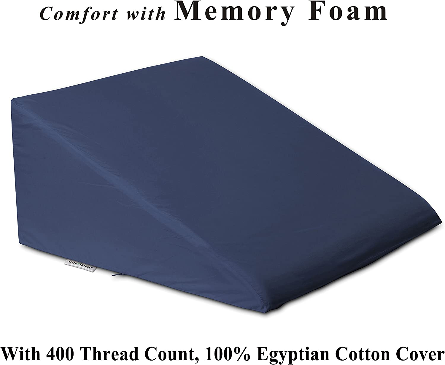 "InteVision Foam Bed Wedge Pillow (25"" x 24"" x 12"") - 2"" Memory Foam Top Layer with Firm Base Foam and a 400 Thread Count, 100% Egyptian Cotton Cover - Helps Relief from Acid Reflux, Post Surgery"