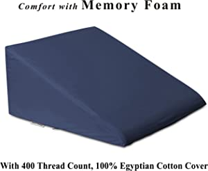 """InteVision Foam Bed Wedge Pillow (25"""" x 24"""" x 12"""") - 2"""" Memory Foam Top Layer with Firm Base Foam and a 400 Thread Count, 100% Egyptian Cotton Cover - Helps Relief from Acid Reflux, Post Surgery"""