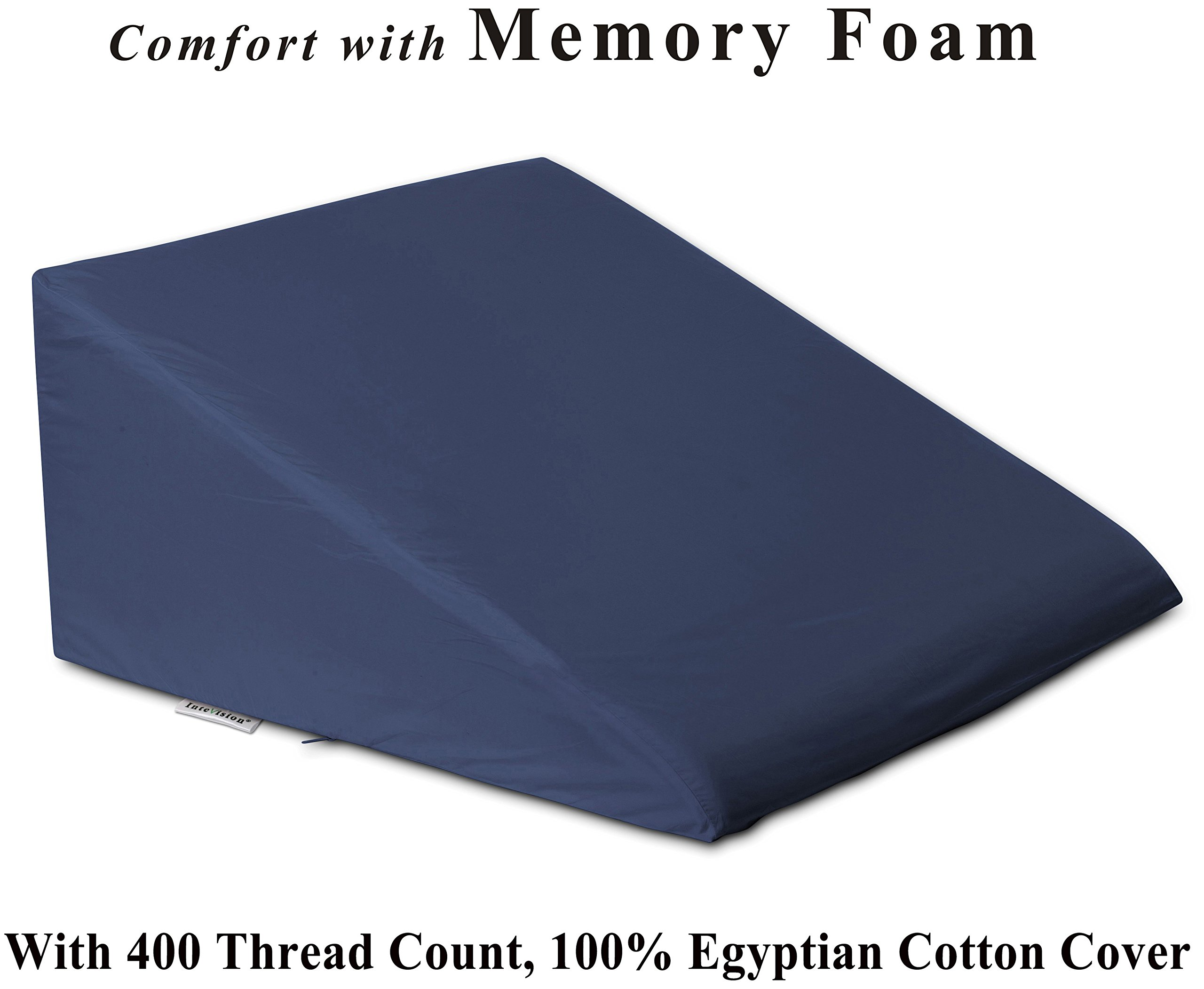 InteVision Foam Wedge Bed Pillow (25'' x 24'' x 12'') with Egyptian Cotton Cover (400 Thread Count)