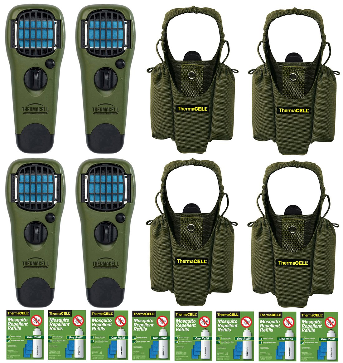 Thermacell Family Camper's Kit : 4 Mosquito Repellent Appliances (Olive), 4 Holsters, 8 Refill Packs by Thermacell (Image #1)