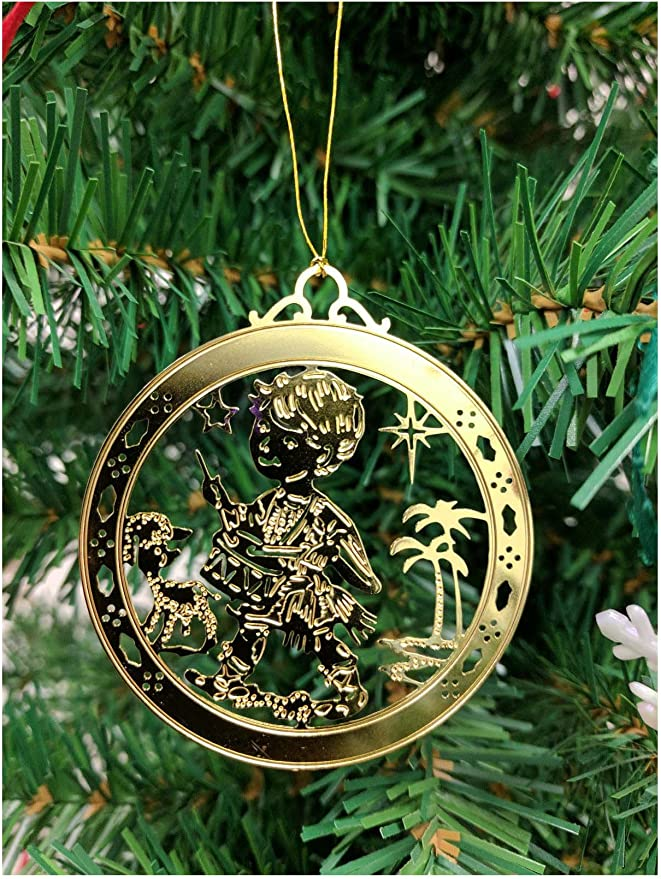 Yrmsun Holiday Ornaments for Xmas Tree Little Drummer Boy Round Craft Gift Ceramic Ornament Decorations