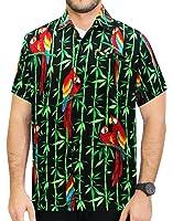 La Leela Men's Aloha Hawaiian Shirt Short Sleeve Button Down Casual Beach Party Blue