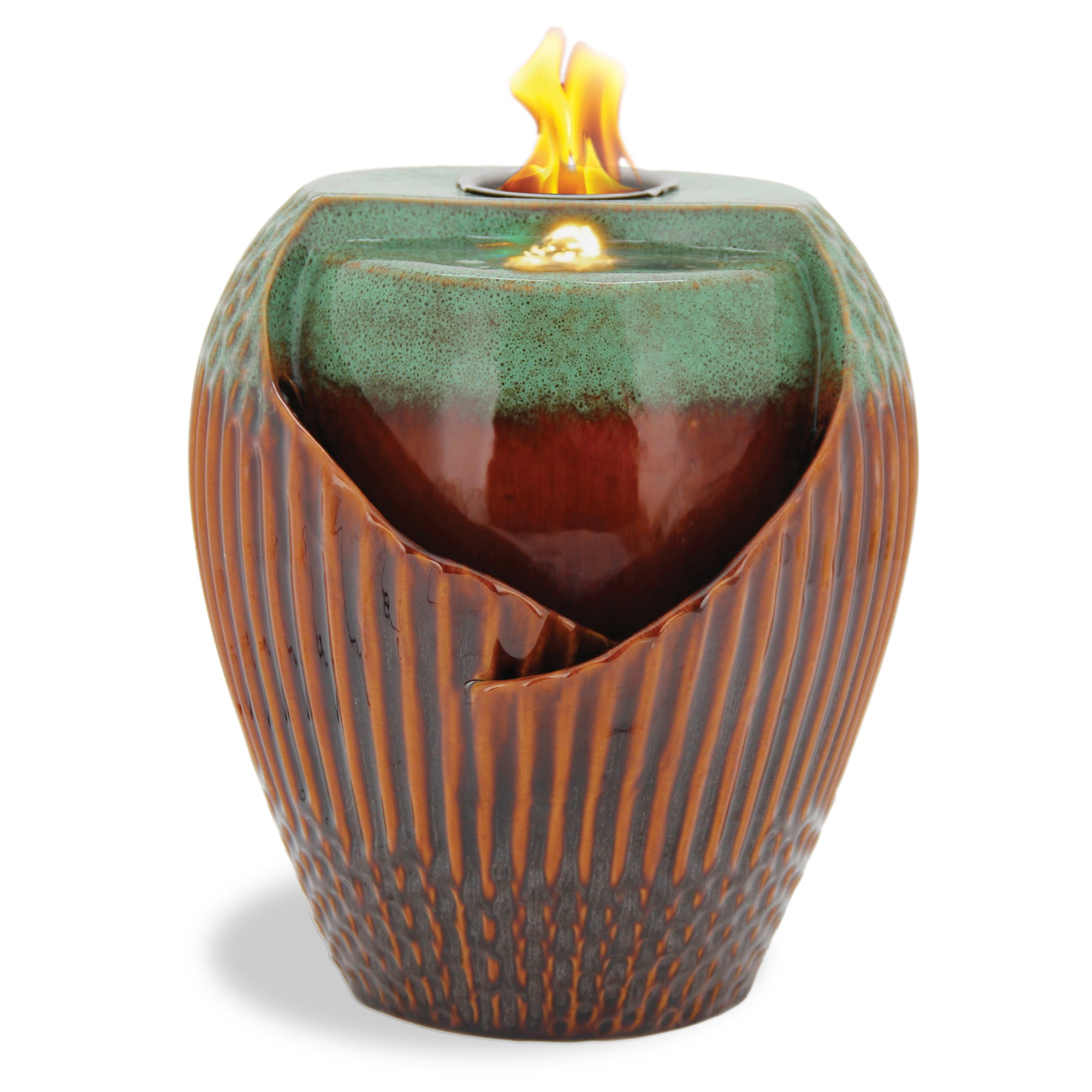 Pacific Décor Osaka LED Flame Fountain, 12-Inch, Green/Brown