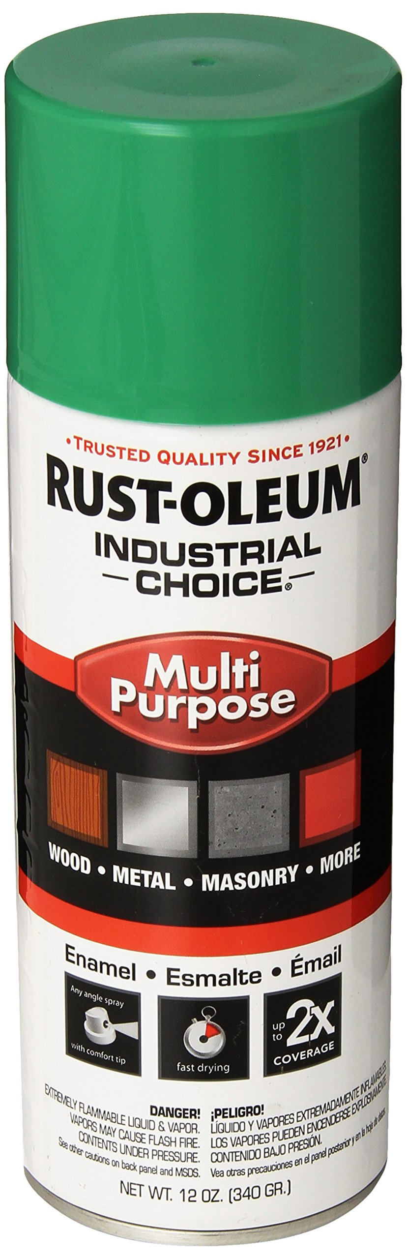 Rust-Oleum 1633830 Safety Green 1600 System General Purpose Enamel Spray Paint, 16 fl. oz. container, 12 oz. weight fill, Can (Pack of 6)