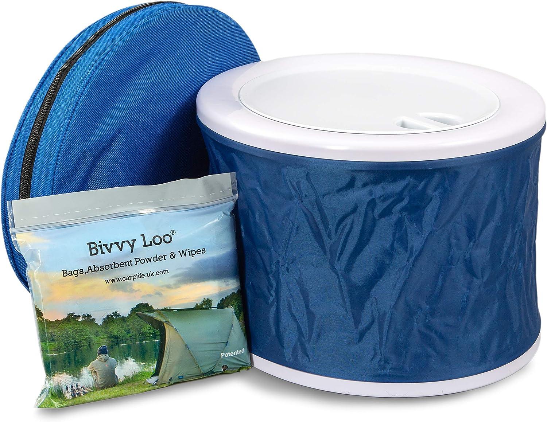 Bivvy Loo Inodoro portátil Azul con Gorra - Inodoro para Acampar - Inodoro para Festivales - Inodoros para Acampar al Aire Libre - Inodoros portátiles ...