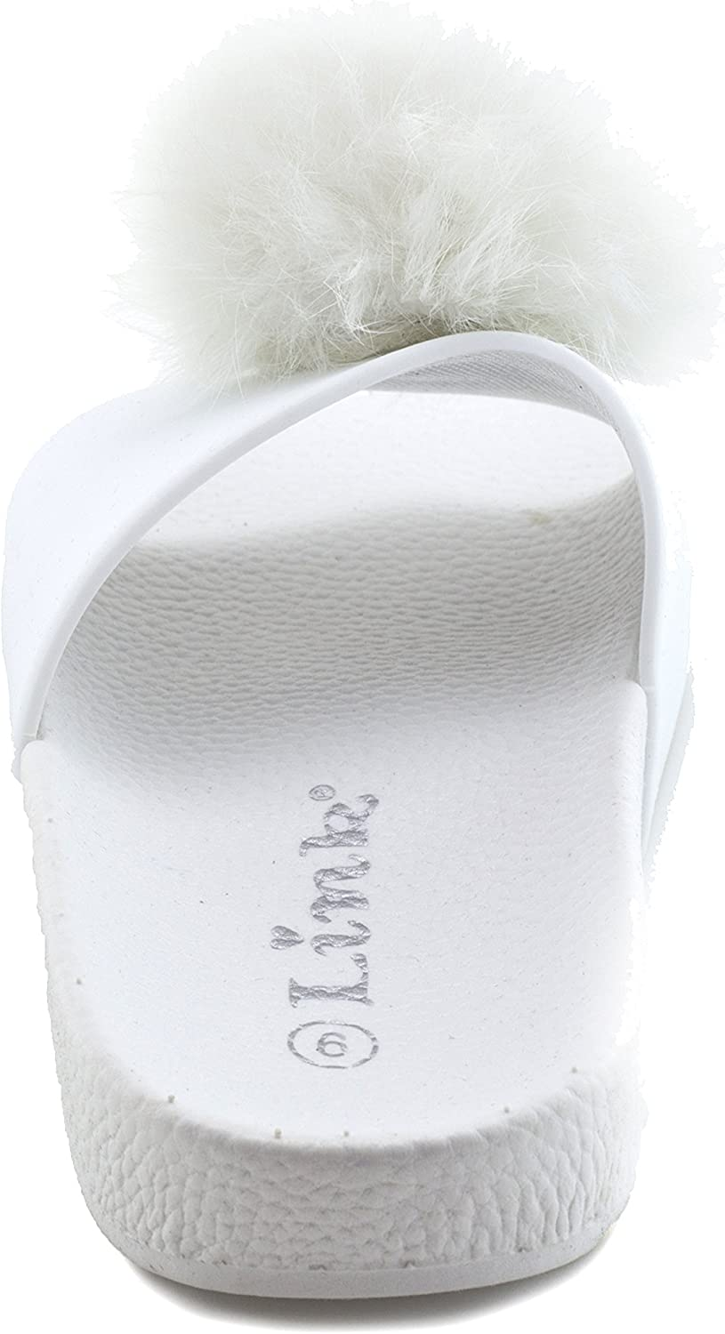 Toddler//Little Kid Link Girls Open Toe Fur Ball Strap Flip Flop Sandals