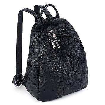 9eecefa1b9992 UTO Damen PU Washed Leder Rucksack Daypack Damen Rucksack Schultertasche  Robust Doppel-Reißverschluss Taschen Schlank