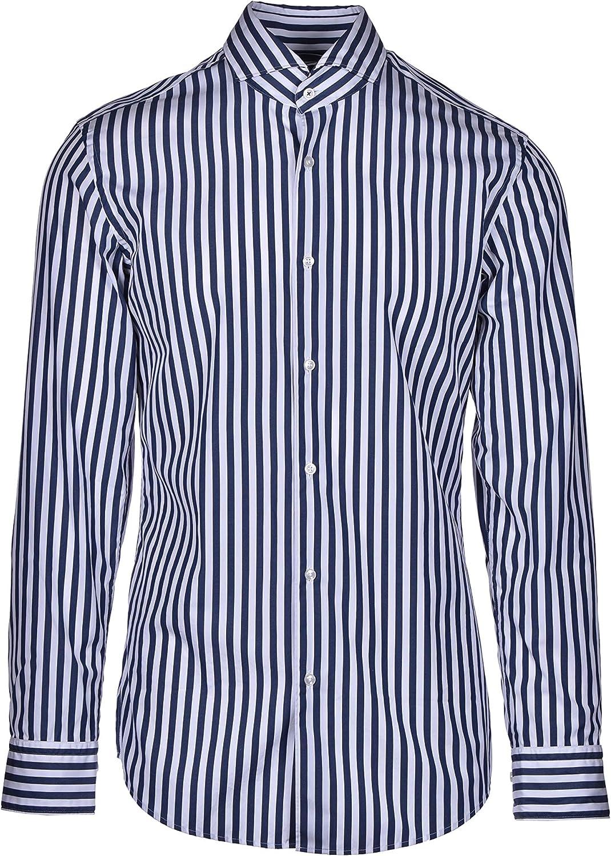 Hugo Boss Jemerson - Camisa clásica de algodón a rayas, color azul
