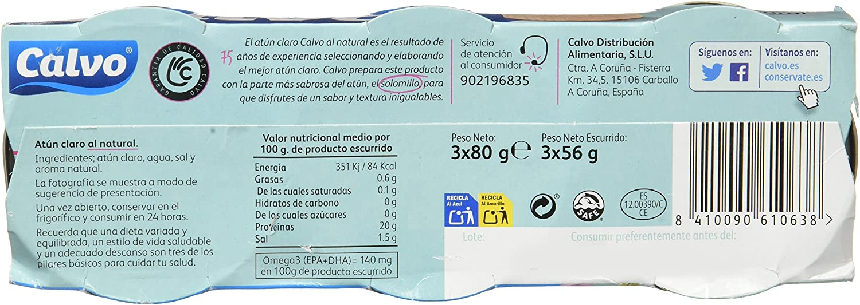 Calvo Atún Claro Al Natural - 10 Paquete de 3 Latas: Amazon ...
