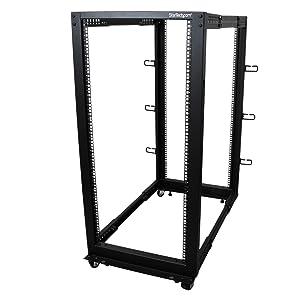 StarTech.com 25U Open Frame Server Rack - Adjustable Depth - 4-Post Data Rack - w/Casters/Levelers/Cable Management Hooks (4POSTRACK25U)
