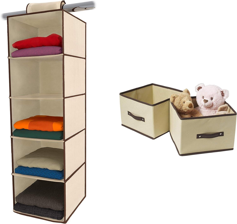 Ziz Home Hanging Closet Organizer with 2 Fold-able Cubes Drawers | 5 Shelf Beige | Closet Hanging Organizer