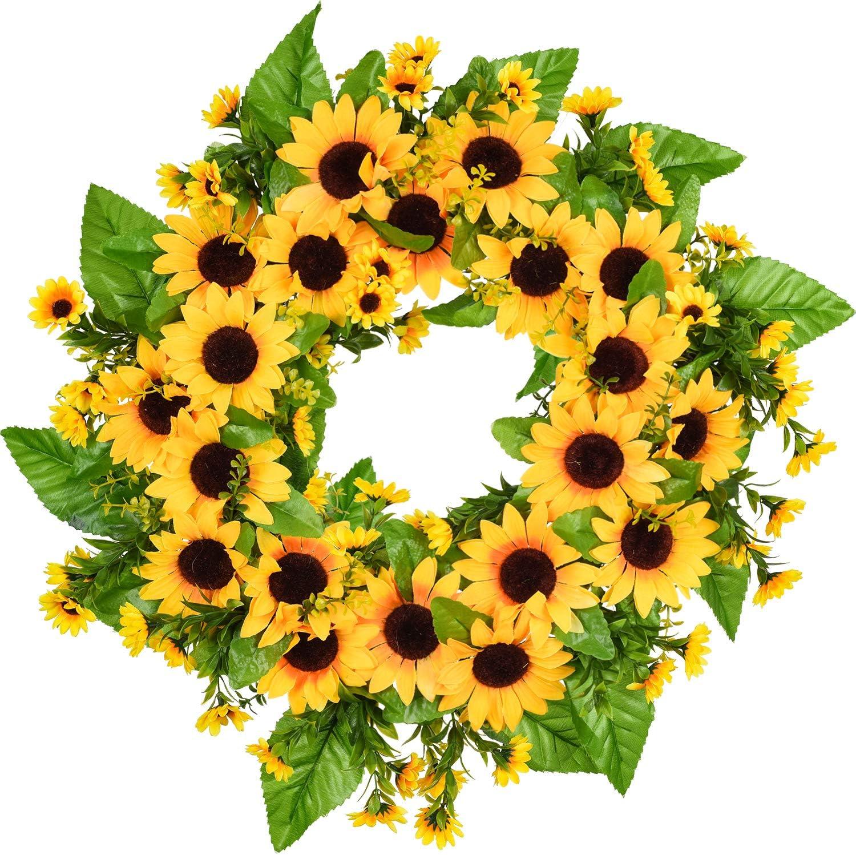Amazon Com Artiflr Artificial Sunflower Summer Wreath 18 Inch