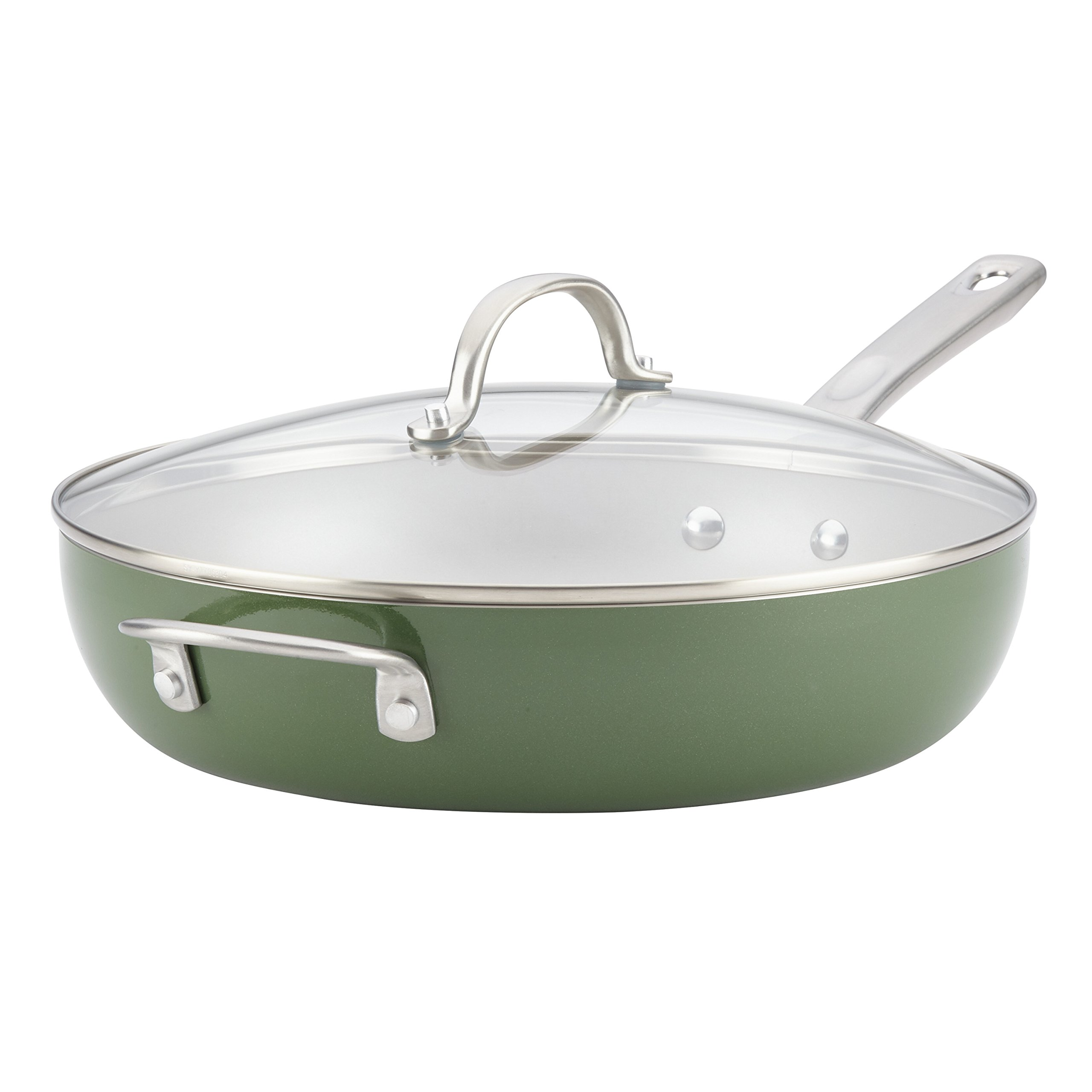 Ayesha Curry 10380 Home Collection Deep Skillet, 12'', Basil Green