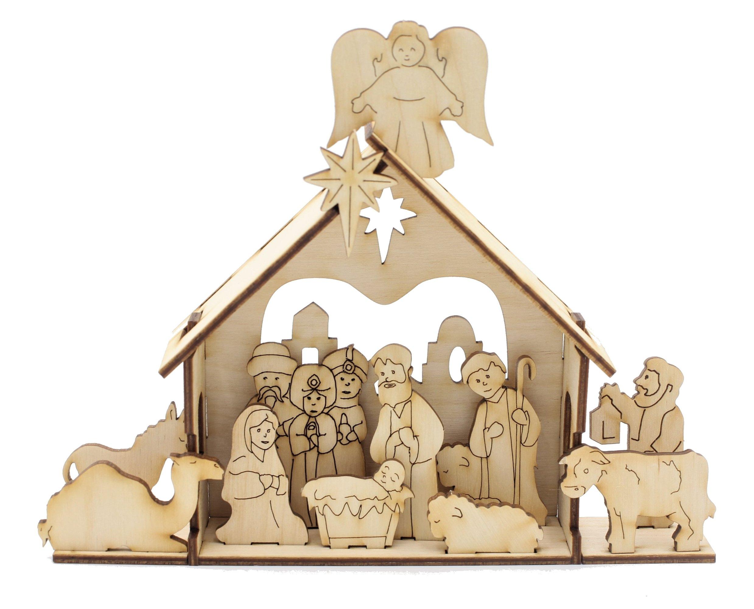 Natural Wood DIY Nativity Deluxe