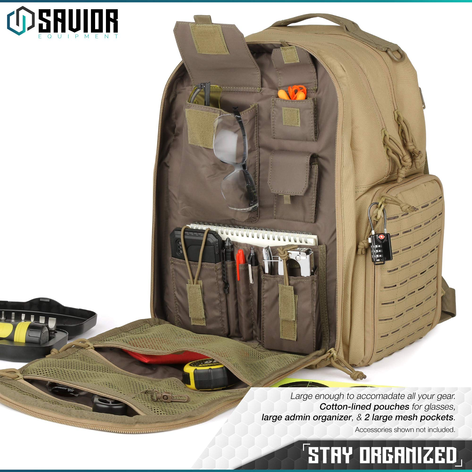 Savior Equipment Mobile Arsenal SEMA 27L Military Heavy-Duty Tactical Range Bag Backpack w/ 3 Separate Pistol Case - Laser-Cut Style MOLLE & Lockable Zippers, Raincover Included by Savior Equipment (Image #3)