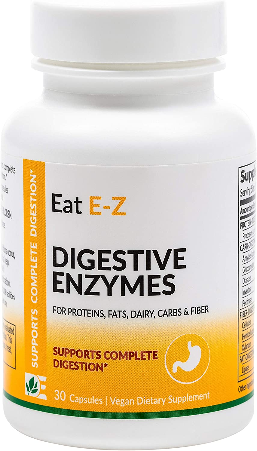 Eat E-Z Original (30 Vegan Capsules) Complete Digestive Enzyme Supplement; Anti-Bloating; Gut Health.