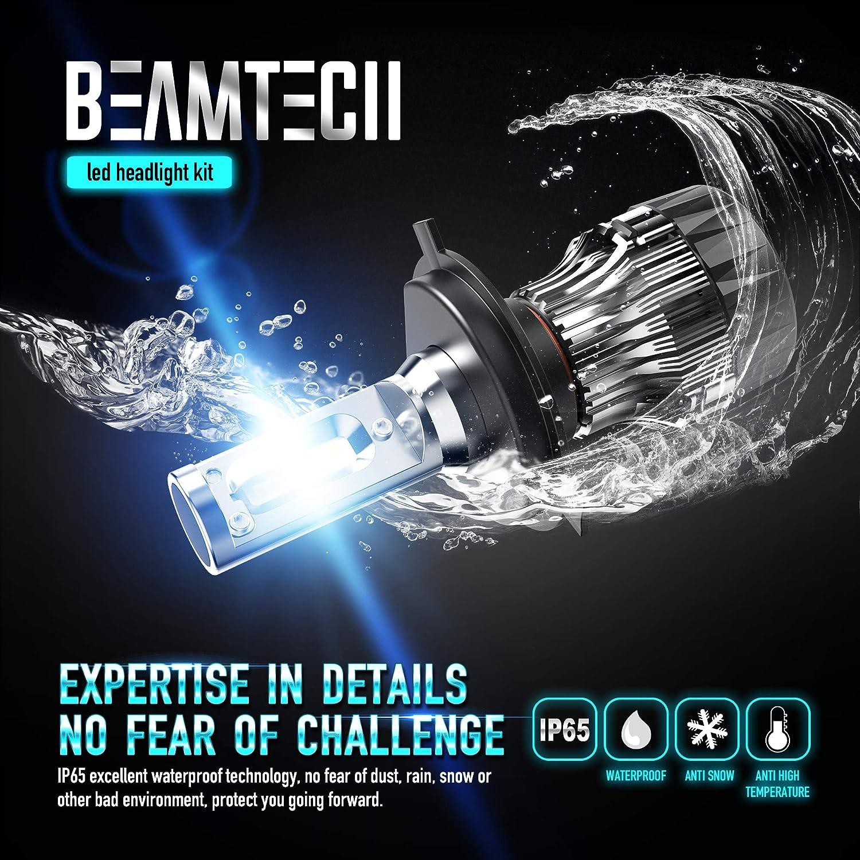BEAMTECH H11 LED Headlight Bulbs 6500K 8000 Lumens Extremely Super Bright H8 H9 COB LED Chips Conversion Kit,Xenon White