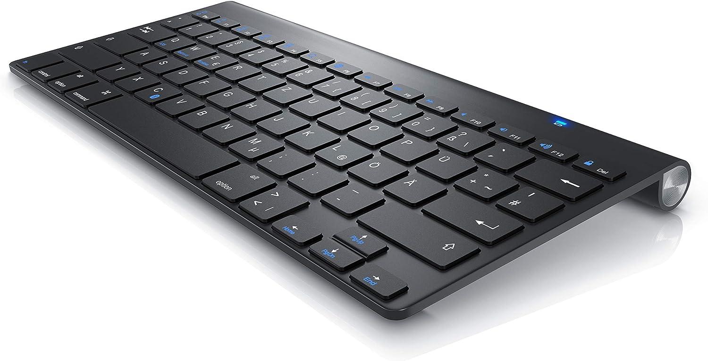 CSL-Computer Teclado inalámbrico Bluetooth para iOS, Android, PC, computadora portátil, Mac, MacBook Pro, teléfono inteligente y dispositivo Negro