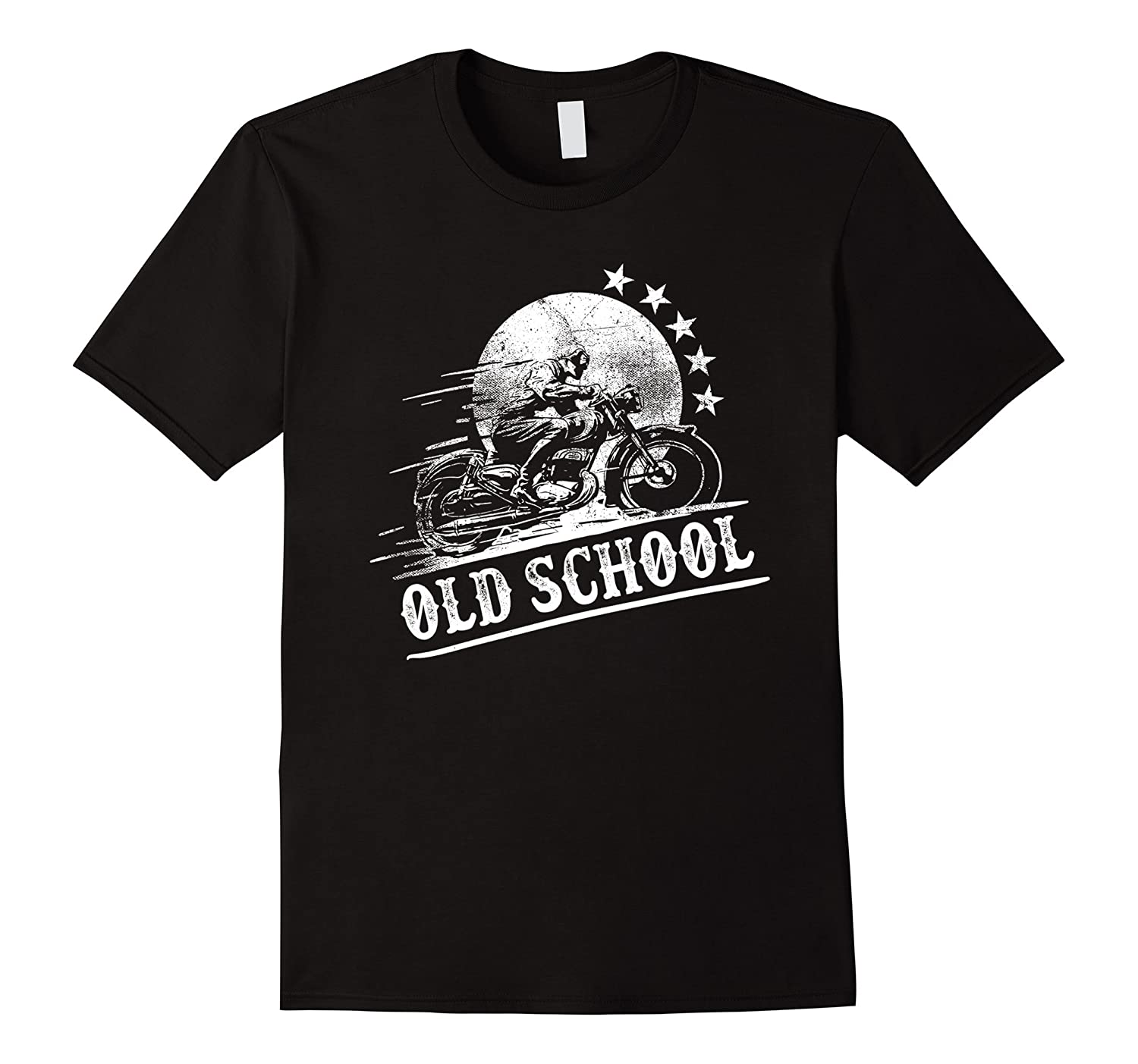 Graphic Design Vintage Style Old School Motorcycle T-shirt-FL