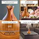 Essential Oil Diffuser, Ultrasonic, Natural Aromatherapy for Stress Relief and Relaxation ~ with 7 Color Changing LED Lights & Bonus Cleaning Brush, Runs Up to 12hrs, by Fusion (Natural Pine)