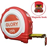 Glory Retractable Measuring Tape Measure 25 Feet length with Magnetic Hook, Professional Inch Blade With Fraction, Red rubber Comfortable handle
