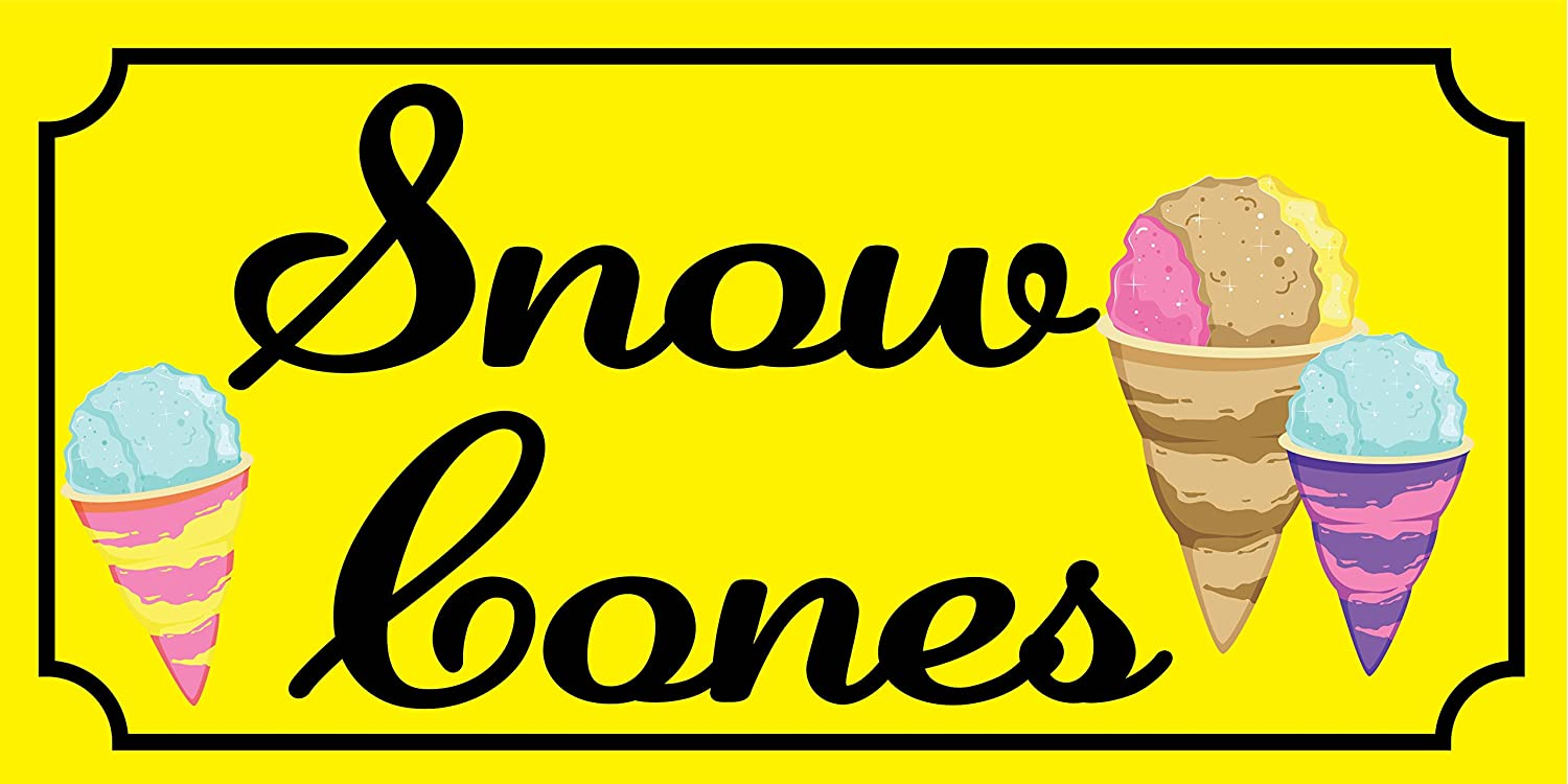 Pre-Printed Snow Cones Banner Solid 8 x 4 Yellow Sewn with Metal Grommets