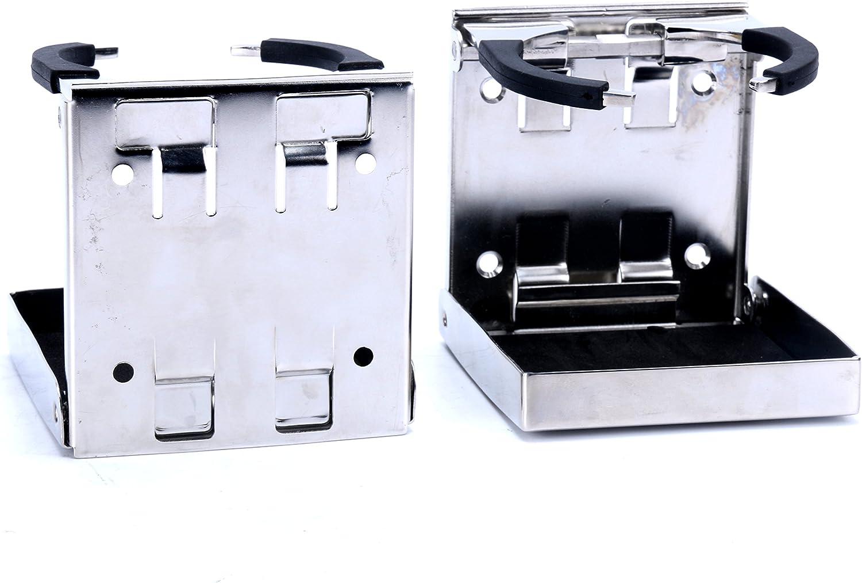 SeaLux 2pcs Stainless Steel Adjustable Folding Drink Holders Marine/Boat/Caravan/car