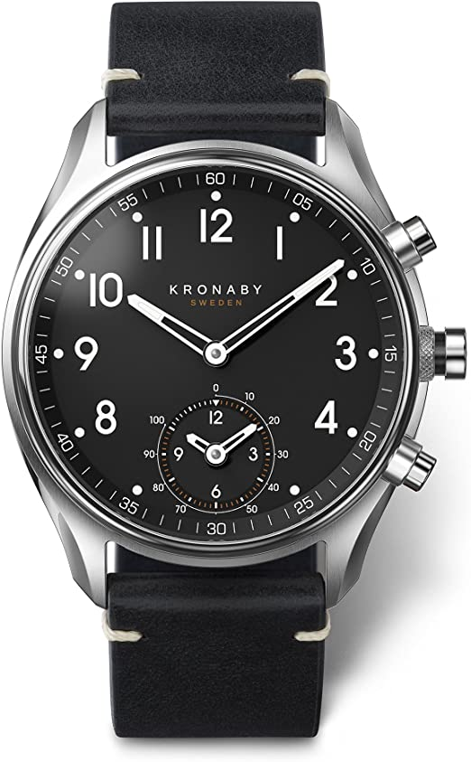 Amazon.com: Reloj de cuarzo kronaby Apex, Negro, 43 mm, 10 ...