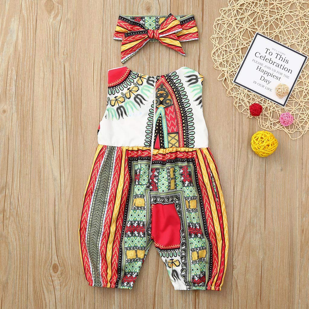 ❤️ Sunbona Toddler Kids Baby Girl Print Sleeveless Romper Jumpsuit Summer Outfits Clothes African Baby Clothes Unisex