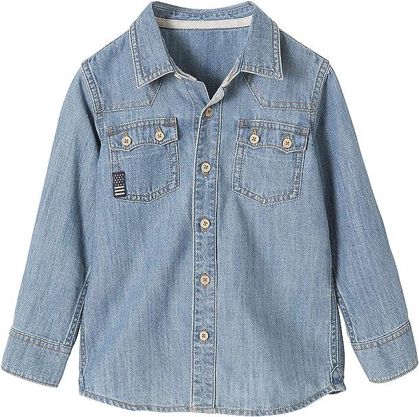 VERTBAUDET Camisa Vaquera niño Efecto Lavado Azul Oscuro Lavado 2A: Amazon.es: Ropa y accesorios