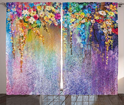 Ambesonne Flower Curtain