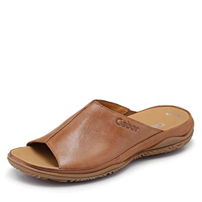 80024b16d112ff Gabor Idol Leather Wide Fit Casual Mules 5 Braun